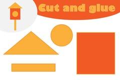 Gniazdujący pudełkowatego kreskówka styl, edukacji gra dla rozwoju preschool dzieci, używa nożyce i kleidło tworzyć aplikację ilustracja wektor