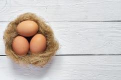 Gniazduje z jajkami na białym drewnianym deski tle Fotografia Royalty Free