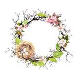 Gniazduje z jajkami, wiosny okwitnięcia kwiatami, gałąź i zieleń liśćmi, Kwiecisty wianek dla wielkanocy Akwarela okręgu granica ilustracja wektor