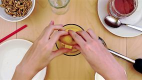 Gnieść cytryna sok w blender dla zdrowego i odżywczego smoothie zbiory