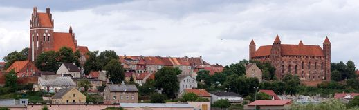 Gniew. Old city, Gniew,Knights' castle with XIV age Stock Image
