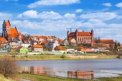 Gniew-Stadt mit teutonic Schloss in Wierzyca-Fluss Stockbild