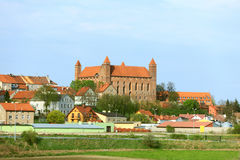 Gniew town with teutonic castle at Wierzyca river, Poland Stock Images