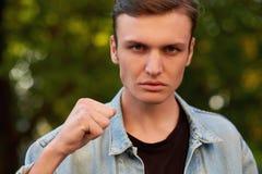 Gniewna agresywna mężczyzna twarz Zdjęcie Stock