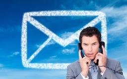 Gniewna biznesmen gmatwanina up w telefonów drutach Obraz Stock
