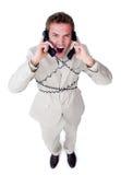 gniewna biznesmena telefonu gmatwanina w górę drutów Obraz Royalty Free