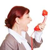 Gniewny biznesowej kobiety krzyczeć Fotografia Royalty Free