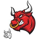 Gniewna byk głowa - czerwień Fotografia Stock