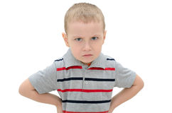 Gniewna chłopiec odizolowywająca na białym tle obraz royalty free