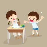 Gniewna chłopiec krzyczy przy przyjacielem Zdjęcia Stock