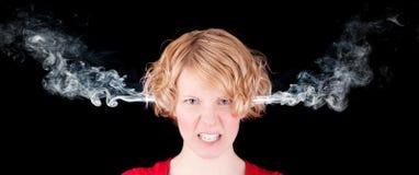 Gniewna dymienie dziewczyna obrazy stock
