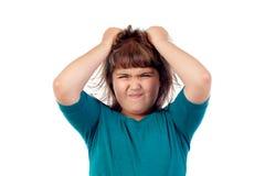 Gniewna dziewczyna ciągnie jej włosy Obraz Royalty Free