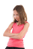 Gniewna dziewczyna patrzeje w dół Fotografia Royalty Free