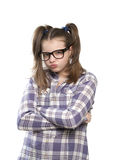 Gniewna dziewczyna w szkockiej kraty koszula Fotografia Stock