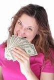 Gniewna kobieta je pieniądze Fotografia Stock