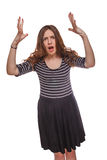 Gniewna kobieta macha ona ręki odizolowywał biel Fotografia Royalty Free