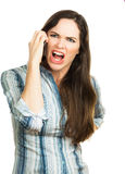 Gniewna kobieta target521_0_ na telefonie Zdjęcie Royalty Free