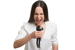 Gniewna kobieta z małym okaleczającym mężczyzna Fotografia Royalty Free