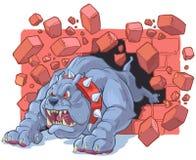 Gniewna kreskówka buldoga maskotka Rozbija Przez ściany z cegieł obraz stock
