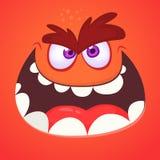 Gniewna kreskówka potwora twarz Wektorowy Halloweenowy pomarańczowy potwór opowiada lub krzyczy ilustracji