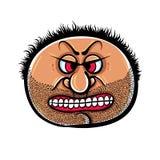 Gniewna kreskówki twarz z ściernią, wektorowa ilustracja Fotografia Stock