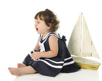 Gniewna Mała żeglarz dziewczyna Zdjęcie Stock