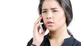 Gniewna Piękna dziewczyna Opowiada na telefonie, portret Obrazy Stock