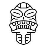 Gniewna plemienna idol ikona, konturu styl ilustracja wektor