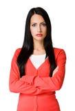 Gniewna przyglądająca biznesowa kobieta. Fotografia Royalty Free