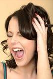Gniewna Spięta Atrakcyjna młoda kobieta Patrzeje Stresujący się zdjęcia royalty free
