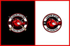 Gniewna wieprz kreskówki głowa z karabinowym wektorowym logo szablonem dla tropić klubu royalty ilustracja