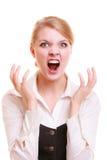 Gniewnego bizneswomanu kobiety wściekły krzyczeć Obraz Royalty Free