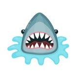 Gniewnego rekinu wektorowa płaska ilustracja Obraz Royalty Free