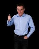 Gniewnego wieka średni Biznesowy mężczyzna Wskazuje palec Fotografia Royalty Free