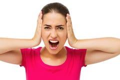 Gniewnej kobiety Nakrywkowi ucho Z rękami Fotografia Royalty Free