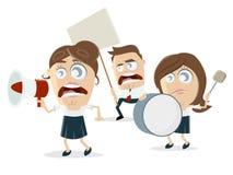 Gniewni kreskówka demonstranci Obrazy Stock