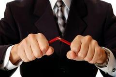 gniewny łamania biznesmena ołówek zdjęcie stock