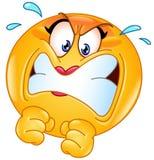 Gniewny żeński emoticon ilustracja wektor
