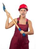 Gniewny żeński lumberer huśta się ogromnego ax Obraz Royalty Free