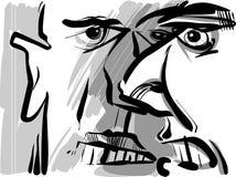 Gniewny argumentowanie mężczyzna nakreślenia rysunek Fotografia Stock