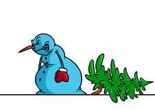 Gniewny bałwan powalać drzewną boże narodzenie awarii kreskówki ilustrację ilustracja wektor