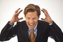Gniewny biznesmena krzyczeć fotografia royalty free