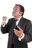 gniewny biznesowego mężczyzna telefon komórkowy Zdjęcie Royalty Free