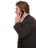 Gniewny biznesowy mężczyzna opowiada na telefonie Obrazy Stock