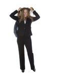 Gniewny bizneswoman ciągnie jej włosy Zdjęcia Royalty Free