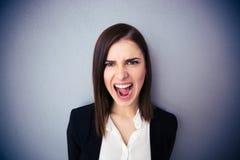 Gniewny bizneswoman krzyczy nad szarym tłem obrazy stock