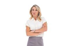 Gniewny bizneswoman patrzeje kamerę zdjęcia royalty free
