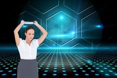 Gniewny bizneswoman rzuca jej pastylka komputer osobistego Obrazy Royalty Free