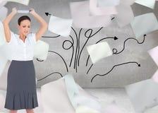 Gniewny bizneswoman rzuca jej pastylka komputer osobistego Obrazy Stock