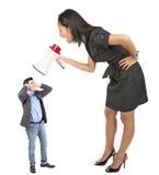 Gniewny bizneswomanu wrzeszczeć zdjęcia royalty free